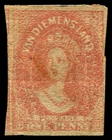 Lot 1525:1857-69 Imperf Chalon Wmk Double-Lined Numeral SG #28