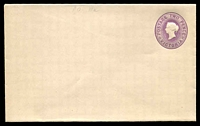 Lot 8706:1901 Embossed QV With Stamp Duty Removed Stieg #B15c 2d violet on white stock.