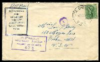 Lot 3834:1945 Presbyterian and Methodist Welfare Association Cover to Broken Hill with 4d Koala tied by Mil.P.O.Chernside Qld cds 14MR45 and with boxed AUSTRALIAN MILTARY FORCES PASSED BY CENSOR 675 handstamp at lower left.