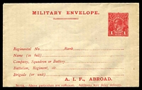Lot 3113:1916 Australian Imperial Force BW #ME4 1d red KGV envelope with A.I.F. ABROAD at base on buff stock, fine and fresh.