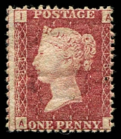 Lot 11117:1858-79 QV Letters in Four Corners SG #43 1d rose-red plate 186, Cat £70