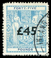 Lot 3317:1940-58 Arms: £45 light blue with overprint fiscally used.