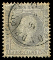 Lot 20366:1856-60 King Oscar I SG #6 3sk lilac, Cat £95.