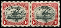 Lot 6852:1906-07 Optd Small 'Papua' SG #39 1d black & carmine pair, used in 1909.