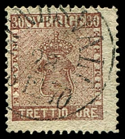 Lot 21217:1858-72 New Currency SG #10a 30ö chocolate, 1870 Sundsvall cancel, Cat £55.