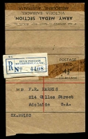 Lot 3115:1949 Army Medal Section ASC #X4.1 4½d wrapper with Melbourne Bulk Postage Registration label.