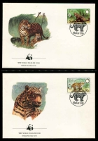 Lot 15660 [3 of 3]:1983 Jaguar SG #756-9 MUH set on WWF pages giving details of this threaten species comes together with set on WWF illustrated FDCs, unaddressed nice lot.