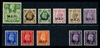 Lot 2693:1943-7 KGVI Ovpts SG #M11-19 set to 2/6d, plus 1942 3d violet two types, SG #M4 & M9