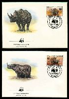 Lot 16158 [2 of 3]:1983 Black Rhinoceros MUH set on WWF pages giving details of this threaten species comes together with set on WWF illustrated FDCs, unaddressed nice lot.
