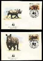 Lot 16158 [3 of 3]:1983 Black Rhinoceros MUH set on WWF pages giving details of this threaten species comes together with set on WWF illustrated FDCs, unaddressed nice lot.