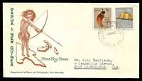 Lot 15110:1963 Fauna 5d & 6d tied to illustrated FDC by Port Moresby cds 27MR63.