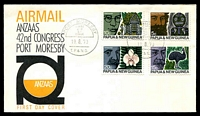 Lot 3147:1970 ANZAAS set tied to illustrated FDC by Port Moresby cds 19 8 70, unaddressed.
