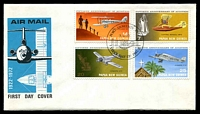 Lot 15112:1972 Aviation set tied to illustrated FDC by Port Moresby cds 7 6 72, unaddressed.