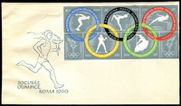 Lot 3876:1960 Olympic Games Imperf M/sheet tied to illustrated FDC by faint Bucuresti special Olympic cancel, unaddressed.