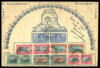 Lot 3535:1938 Voortrekker Memorial illustrated cover with Memorial Fund set and Voortrekker set tied by with special cancel 16 XI 38 being the laying of the corner stone of the monument, nice cover.