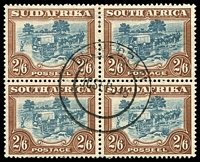 Lot 13468:1930-45 Rotogravure, Unhyphenated SG #49 2/6d blue green and brown block of 4, used in 1943.