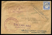 Lot 3976 [1 of 2]:1936 Tin Can Mail cover to Australia with multitude of handstamps cancelled Niuafoou Jul21 1936.