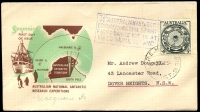 Lot 2606:1954 Illustrated cover with Australian 3½d tied by Macquarie Island cds 28 DE 54 with Macquarie Island cachet at left.