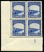 Lot 13781:1948-56 Definitives SG #32 3½a Lloyds Barrage corner block of 4 with Plate No 1.