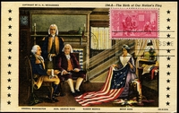 Lot 3580:1952 Anniversary Birth of Betsy Ross 3c tied to Maxi card by FDC Jan 2 1952, fine card.