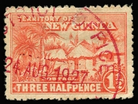 Lot 2617 [2 of 2]:1927: New Guinea Huts 1½d with part District Office cds 24 AUG 1927 in red plus 2d Hut with part District Office double ring cancel 15 MAY 1931 in black. (2)