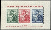 Lot 1337:1949 Hanover Trade Fair: 10pf to 30pf MS Mi #103-105 Block 1a, MUH, Cat €110.