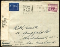 Lot 414:1940 Australia - New Zealand 5d Ram tied by Hobart '1 MAY/1940' slogan cancel to censored cover carried on board TEAL flight AAMC #900 departing Sydney on 2nd May, no backstamps, minor aging.