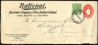 Lot 359 [2 of 2]:1928 [1] (Jan 10) Australian Glass Manufacturers PTPO 1½d Envelope uprated with KGV 1d green tied by d/ring 'WELLINGTON/NZ/10JA28/LOOSE LETTERS' cds; [2] 1930 (May 13) National Insurance Co (of NZ) PTPO 1½d Long Envelope uprated with KGV 1d green tied by smudged 'AUCKLAND NZ/LOOSE LETTER' cds; both items opened on three sides with peripheral blemishes. (2)