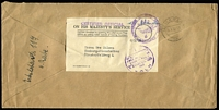 Lot 852:1951 Australian Military Mission (Migration Office, Cologne) OHMS economy envelope with 'CERTIFIED OFFICIAL' handstamp, addressed to Hamburg, circular '1/BY CIVILIAN POST/FREE OF CHARGE/(PORTO FREI)/KOLN' handstamp and mission cachet in violet, Koln '25/5/51' cds alongside. [Contains a typed letter in English & German relating to Migration enquiry]