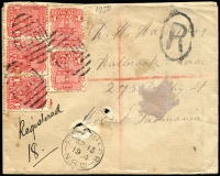 Lot 655:1050: (A1) three Type 4B strikes tying 1d Arms x5 to registered Tatts cover (spike-holes), Stannifer cds beneath stamps. [Rated RR]  Allocated to Stannifer-PO 1/10/1880; closed 29/12/1973.