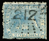 Lot 490:212: (A1) bold Type 2R20 strike on 2d DLR (shallow thinning). [Rated RRRR]  Allocated to Cannonbar-PO 1/1/1860; closed 8/6/1866.