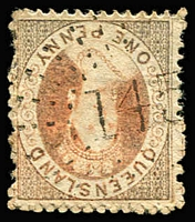 Lot 836:145: '145' (B2) rays on Truncated Star 1d (oxidised). [Rated RRRR]  Allocated to Rolleston-PO 1/2/1871.