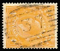 Lot 831:37: (A1) bars on 4d orange KGV. [Rated RRRR for use in Commonwealth period.]  Allocated to Curriwillinghi-PO 1/1/1864; replaced by Hebel PO 16/8/1889; closed 19/8/1989.