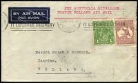 Lot 627 [2 of 2]:1936-47 Selection comprising [1] 1936 2/1d airmail rate to Holland via Singapore; [2] 1936 1/9d rate jusqu'a cover to Sweden; [3] 1936 1/9d airmail rate to Germany; [4] 1940 5/10d clipper rate to England; [5] 1946-47 1/6d rate covers to Germany x3, each with 'US CIVIL CENSORSHIP/GERMANY' handstamp; condition variable. (7)