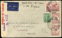Lot 627 [1 of 2]:1936-47 Selection comprising [1] 1936 2/1d airmail rate to Holland via Singapore; [2] 1936 1/9d rate jusqu'a cover to Sweden; [3] 1936 1/9d airmail rate to Germany; [4] 1940 5/10d clipper rate to England; [5] 1946-47 1/6d rate covers to Germany x3, each with 'US CIVIL CENSORSHIP/GERMANY' handstamp; condition variable. (7)