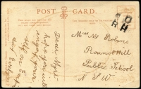 "Lot 921:Round Hill: inwards stampless postcard addressed to ""Round Hill, Public School"", with improvised receiving office cancel 'dO/RH/' (inverted 'd' for 'p') probably configured using a basic John Bull printing kit, but unlike the two previous examples offered by us this cancel has no dateline. Rare.  PO 1/10/1886; closed 31/12/1897."