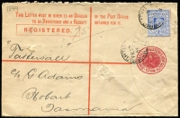 Lot 759 [1 of 2]:Wrightville (1): Tatts Registration Envelope with two largely discernible strikes of 'WRIGHTVILLE/FE10/01/NSW' cds.  PO 6/9/1897; TO 3/10/1931; closed 27/10/1933.