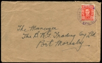 Lot 973:Higaturu: 1946 (Oct 8) cover to Port Moresby with Australian adhesive tied by 1946 Higaturu cds in violet. Very scarce. [Higaturu was wiped out in 1951 by a volcanic eruption.]  PO 1/6/1946; closed 21/1/1951.