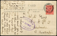 Lot 845 [1 of 2]:1912 (Sep 6) inwards PPC from UK with largely fine Type #CRO-1 double oval (45x28mm) 'DELIVERY WINDOW/5OCT1912/GPO ADELAIDE' handstamp in violet (used between 2-9-1911 to 22-11-1920). Very scarce.