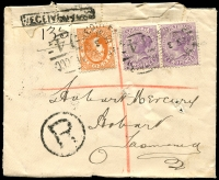 "Lot 1218 [1 of 2]:'Received Open' Handstamp 1907 (Sep 3) registered letter from East Melbourne to Hobart with boxed 'RECEIVED OPEN' handstamps on front & on reverse, re-sealed with postage stamp selvedge, postal official's notation ""Recd Torn, GPO Melb RK"" in pencil & witnessed ""GED, 4-9-07"" in ink."