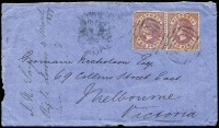 Lot 790 [1 of 2]:1877 (Mar 5) Digby to Melbourne Nicholson cover with 2d mauve Bell P12 pair tied by two strikes of BN '179' with adjacent 'DIGBY/MR5/77/VICTORIA' cds, Merino & Melbourne backstamps, minor blemishes.