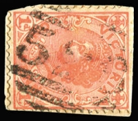 Lot 1028:526: (B2) '526' (large thick letters, no side bars) on 1d pink. [Rated RRR]  Allocated to Timor-PO 10/7/1865; renamed Bowenvale PO 21/1/1884; closed 23/12/1981.