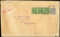 Lot 343 [1 of 2]:3d Blue Die Ia Type B and 1d green strip of 3 tied by weak Collins St/Melbourne cds on 1927 (Sep) registered printed matter cover to Loxton (SA), Tailem Bend & Loxton backstamps, edge faults.