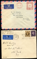 "Lot 1169 [3 of 3]:1930s-50s Covers Assortment comprising [1] 1935 with KGV 1½d & 1940 stampless both with 'RECEIVED FROM/H M SHIPS' cancels, the latter with HM Ships censor cachet on reverse; [2] 1942 Royal Canadian Airforce (crest on flap) to London with indistinct FPO cancel; [3] 1934-57 meter covers x7 including 1957 at 1/3d rate to USA; [4] Hotel covers x7 including 1939 Southbourne Cliffs ""North Atlantic/AIR SERVICE"" to New York and a 1950s Warldorf PPC; condition variable. (18)"