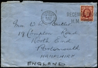 "Lot 1990 [1 of 3]:1930s-50s Covers Assortment comprising [1] 1935 with KGV 1½d & 1940 stampless both with 'RECEIVED FROM/H M SHIPS' cancels, the latter with HM Ships censor cachet on reverse; [2] 1942 Royal Canadian Airforce (crest on flap) to London with indistinct FPO cancel; [3] 1934-57 meter covers x7 including 1957 at 1/3d rate to USA; [4] Hotel covers x7 including 1939 Southbourne Cliffs ""North Atlantic/AIR SERVICE"" to New York and a 1950s Warldorf PPC; condition variable. (18)"