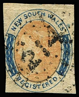 Lot 972:214: (A2) on NSW imperf (6d) Registered (shallow thins). Unusual.  Allocated to Toowoomba-PO 1/1/1858.