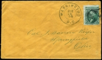 Lot 1891:1864 (Jun 14) cover to Springfield Ohio with 10c green Washington Scott #68 tied by cork cancel with 'WASHINGTON/JUN/14/64/DC' datestamp alongside.