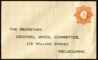 Lot 573:1920-21 2d Orange KGV Star No 'POSTAGE' BW #ES59 for Central Wool Committee (Melbourne), tonespotting, flap stuck down, unused, Cat $350.