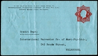 Lot 685:1922-23 2d Red KGV Star With 'POSTAGE' on blue stock BW #ES61 for International Harvester Company of Aus Pty Ltd, central folds, gum residue on flap, unused, Cat $200.