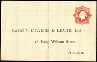 Lot 293:1924-28 1½d Red KGV Star With 'POSTAGE' BW #ES56 for Bagot, Shakes & Lewis Ltd (Adelaide), central fold, hinge remainders on reverse, flap never sealed, unused, Cat $200.